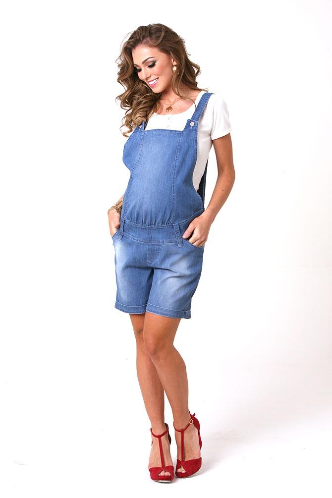 979 - Macacão Lara Curto Jeans
